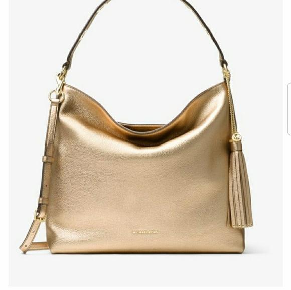 699fcd8b0388 MK Brooklyn Metallic Leather Shoulder Bag